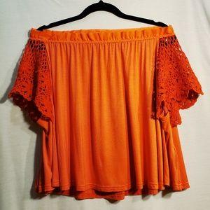 Free People Coral Orange Swing Top Lace Sleeves